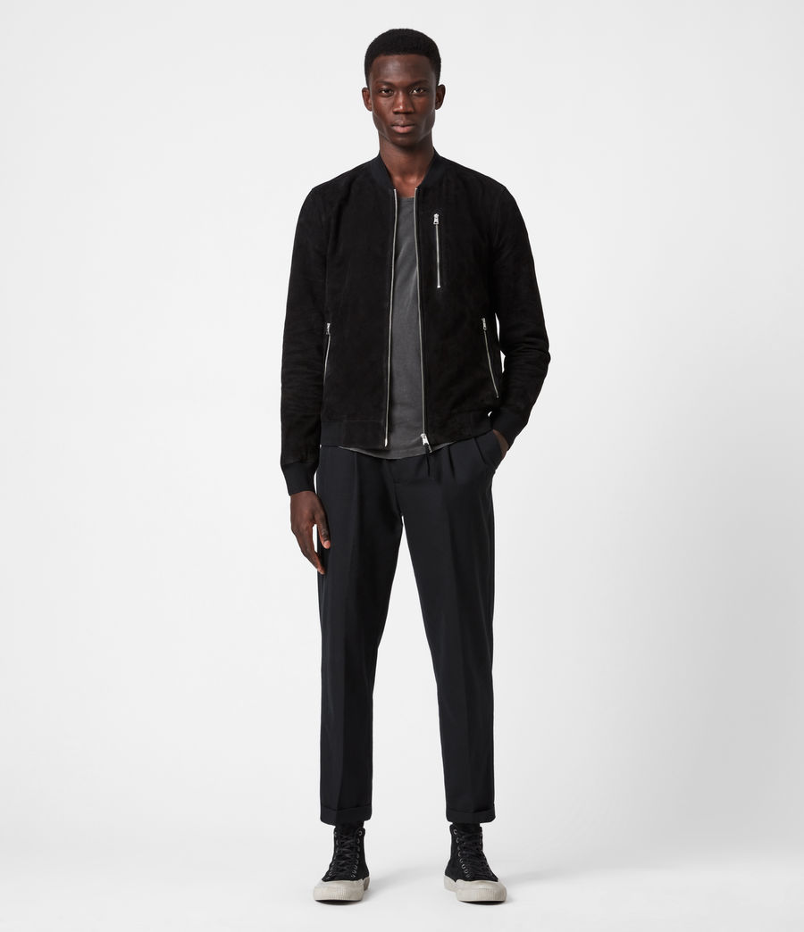 Men's Kemble Suede Bomber Jacket (black) - Image 4