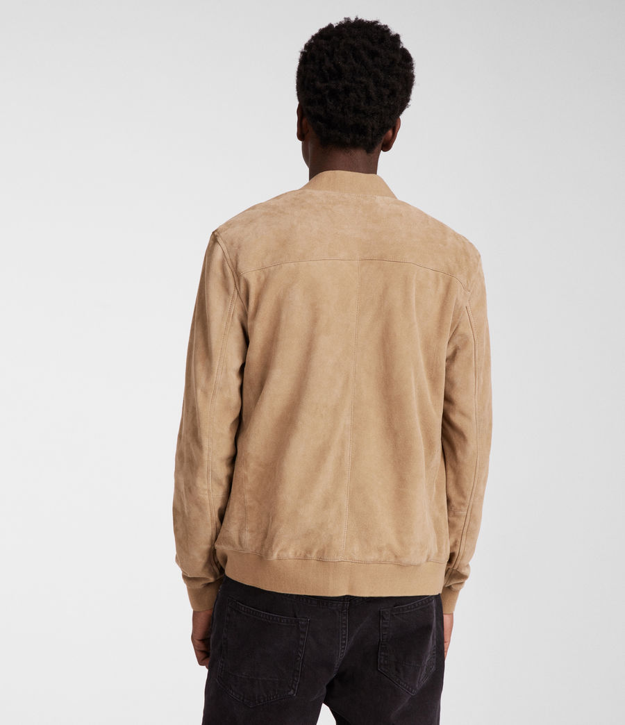 Men's Kemble Suede Bomber Jacket (light_khaki_green) - Image 4