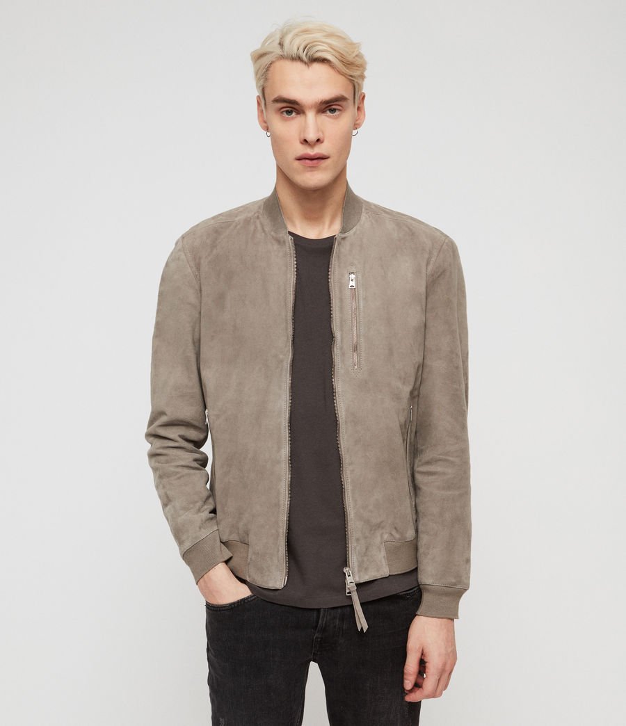 Mens Kemble Suede Bomber Jacket (light_khaki_green) - Image 1