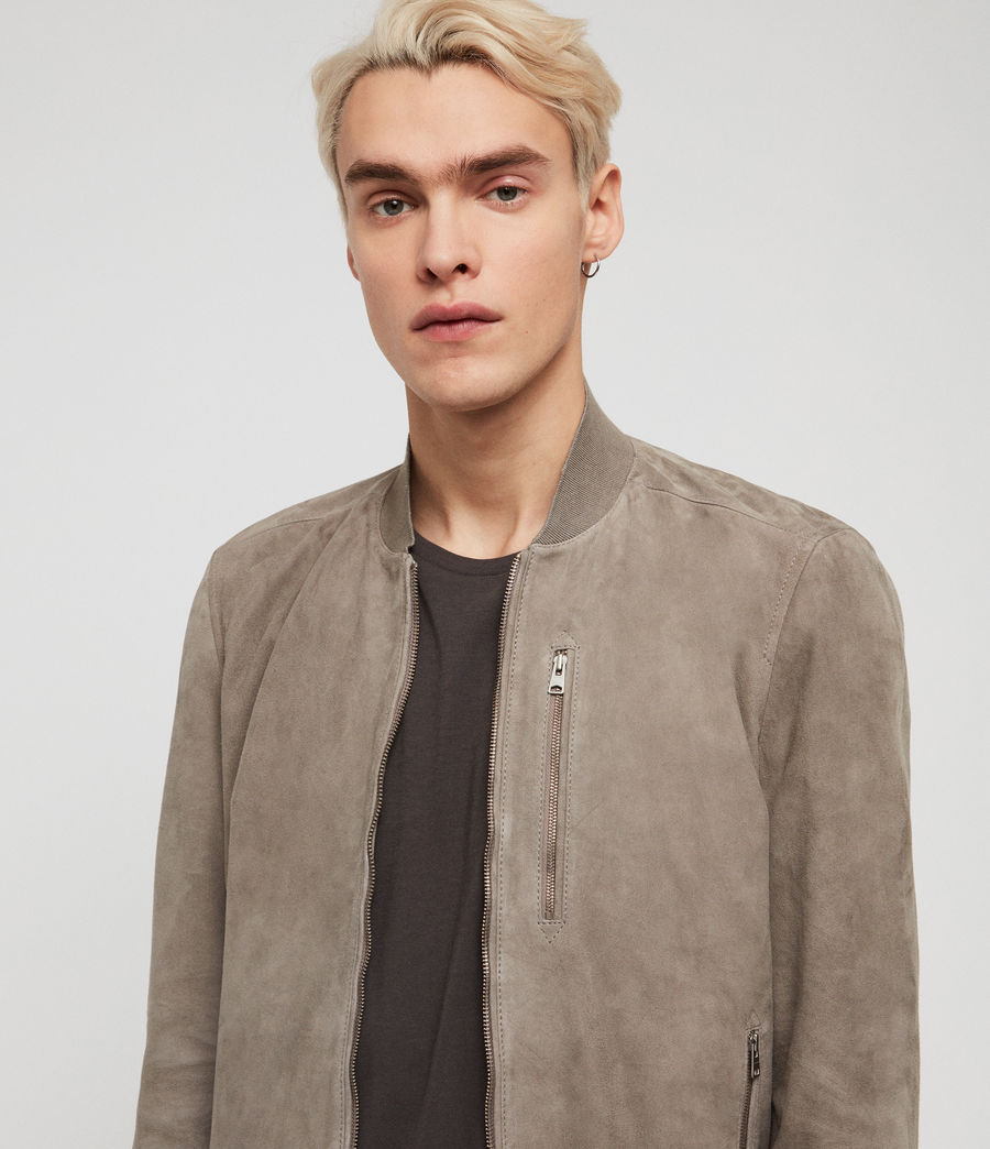 Men's Kemble Suede Bomber Jacket (light_khaki_green) - Image 2
