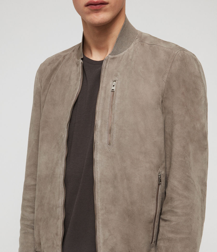 Men's Kemble Suede Bomber Jacket (light_khaki_green) - Image 3