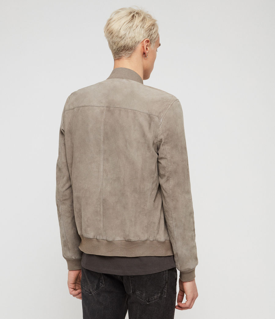 Mens Kemble Suede Bomber Jacket (light_khaki_green) - Image 5