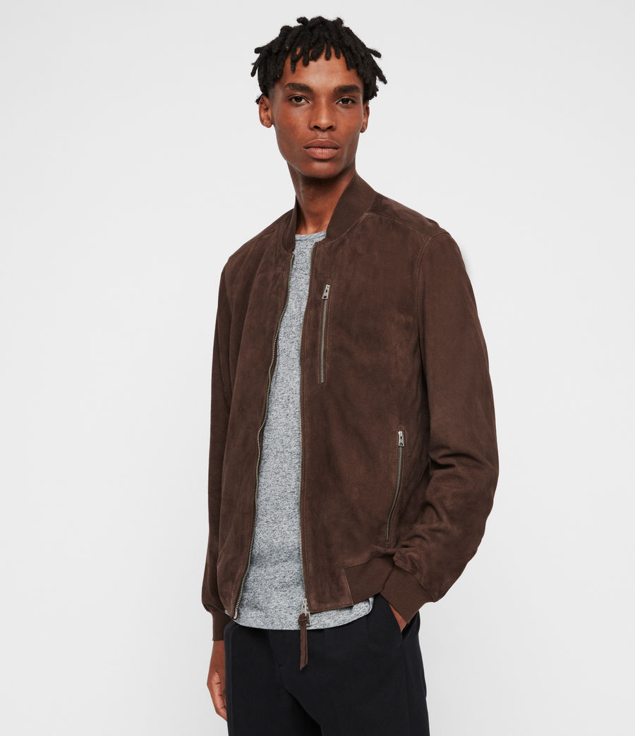 Mens Kemble Suede Bomber Jacket (oxblood_red) - Image 1