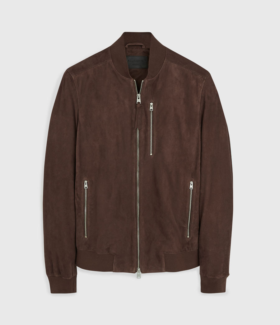 Mens Kemble Suede Bomber Jacket (oxblood_red) - Image 7
