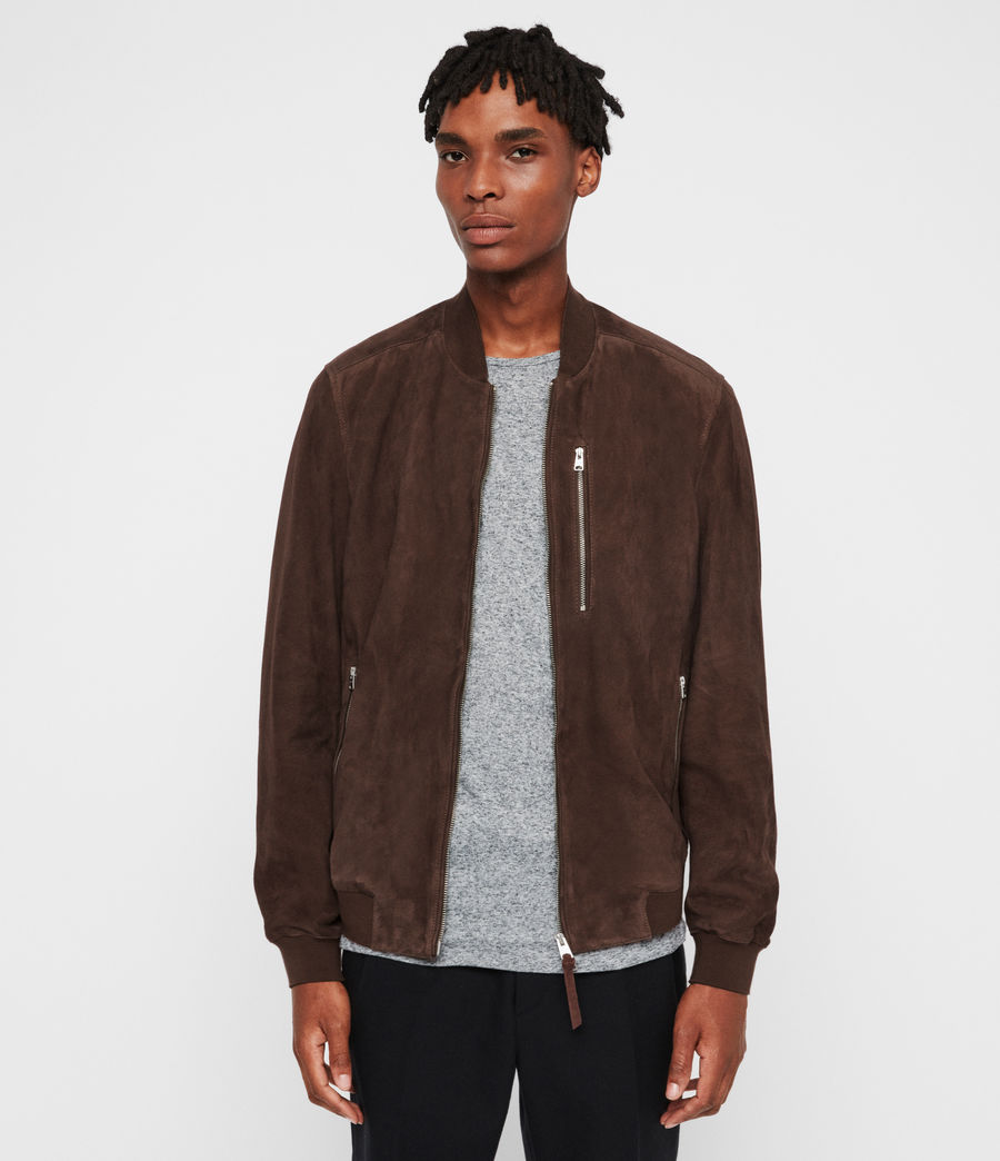 Men's Kemble Suede Bomber Jacket (soot_grey) - Image 4