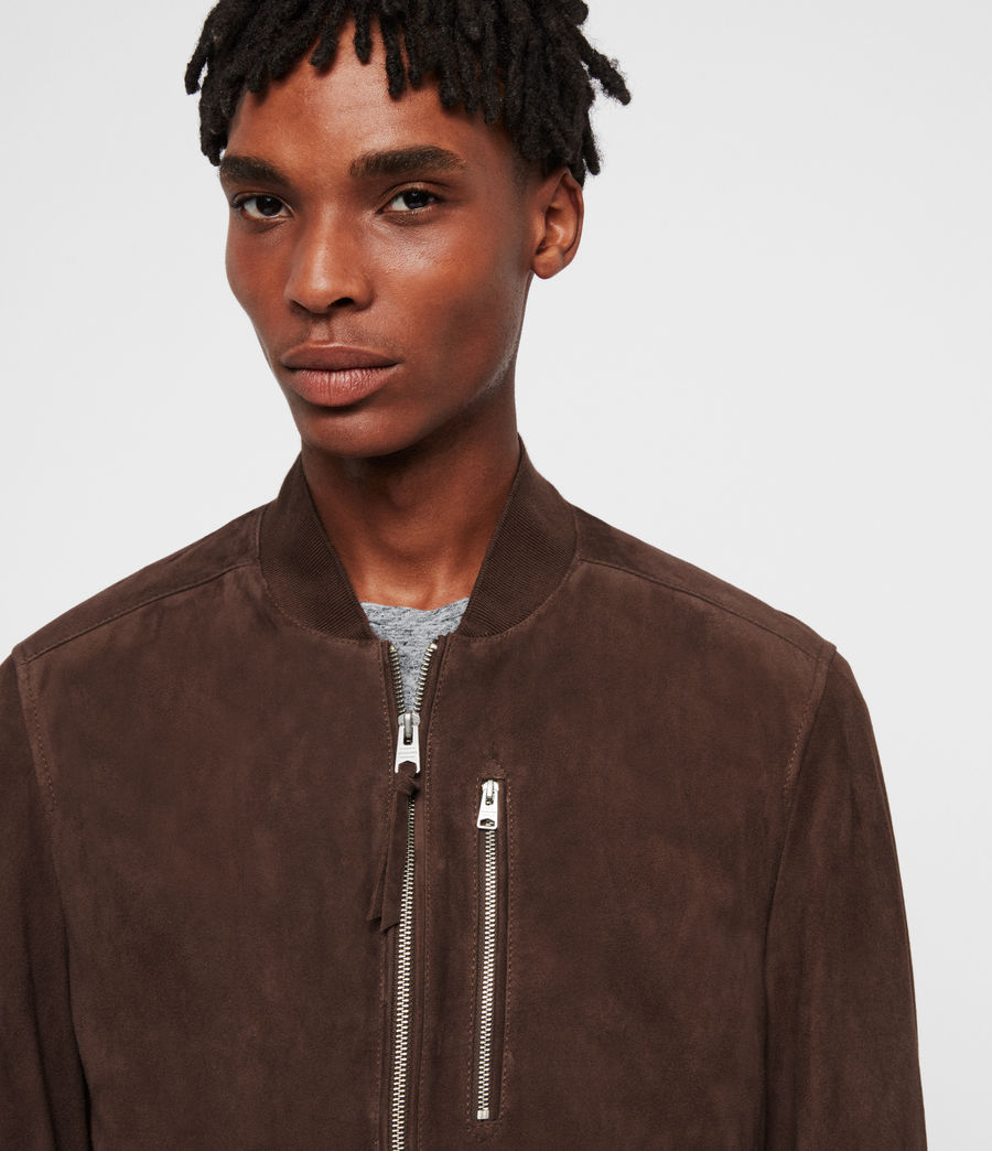 Men's Kemble Suede Bomber Jacket (soot_grey) - Image 5
