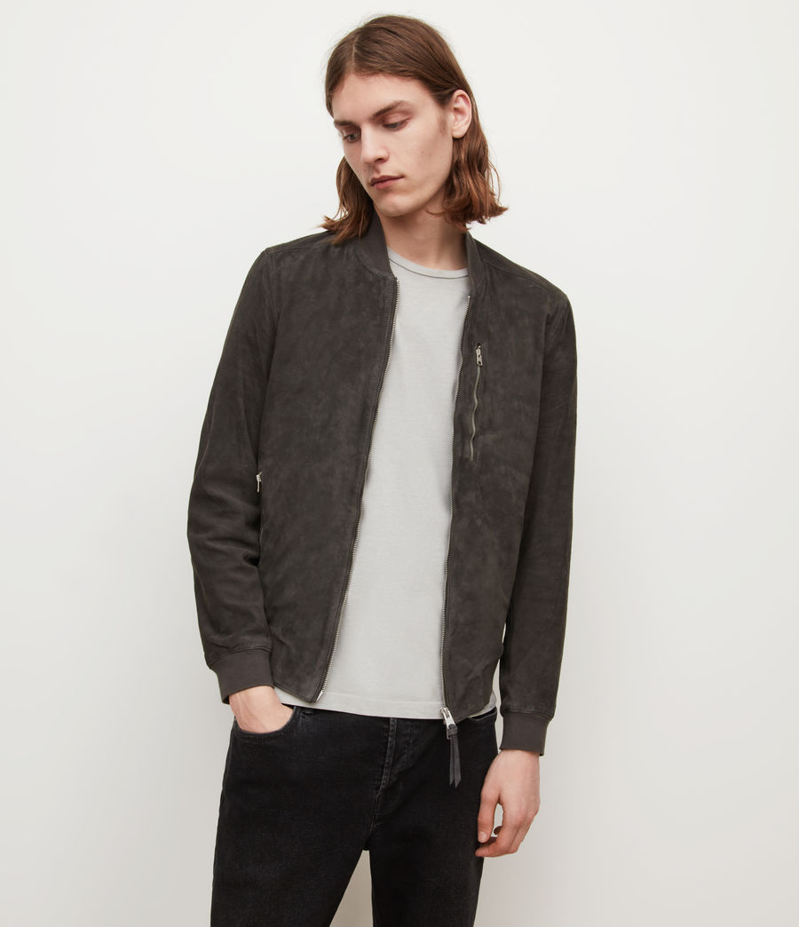 Mens Kemble Suede Bomber Jacket (soot_grey) - Image 1