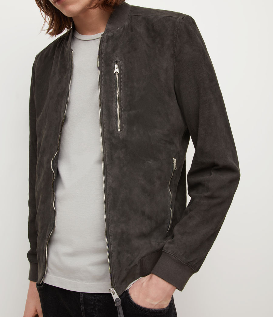 Mens Kemble Suede Bomber Jacket (soot_grey) - Image 2