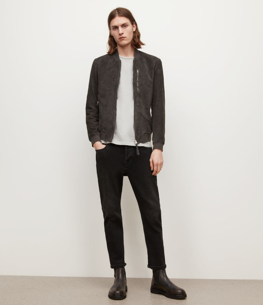 Men's Kemble Suede Bomber Jacket (soot_grey) - Image 3