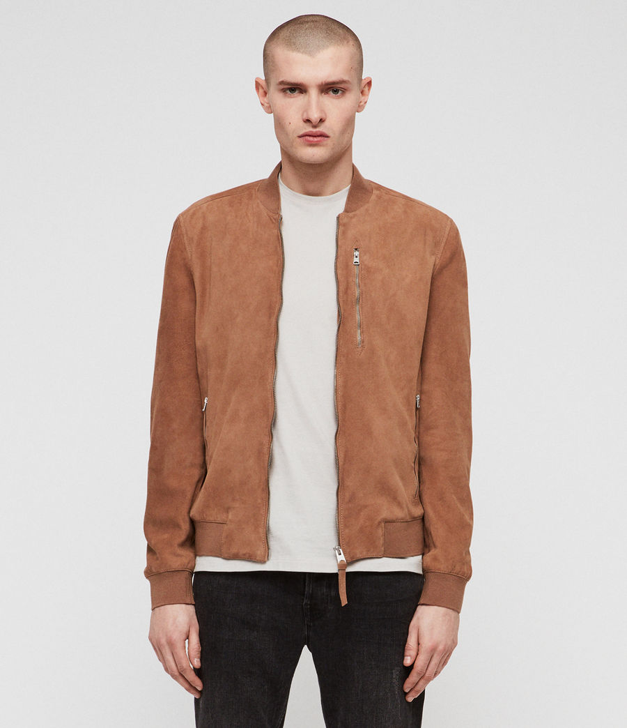 Mens Kemble Suede Bomber Jacket (pale_tan) - Image 1