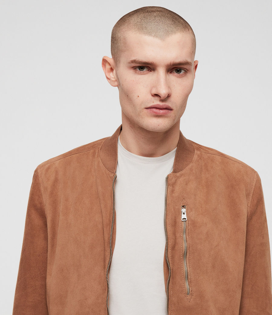 Mens Kemble Suede Bomber Jacket (pale_tan) - Image 2