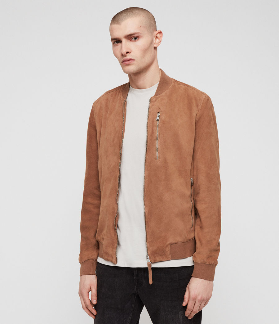 Mens Kemble Suede Bomber Jacket (pale_tan) - Image 3