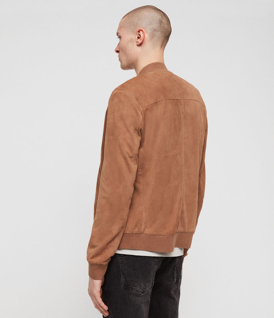 Mens Kemble Suede Bomber Jacket (pale_tan) - Image 4
