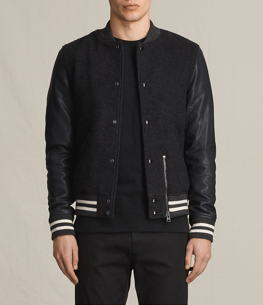 Men's Campbell Leather Bomber Jacket (charcoal_grey) - Image 1