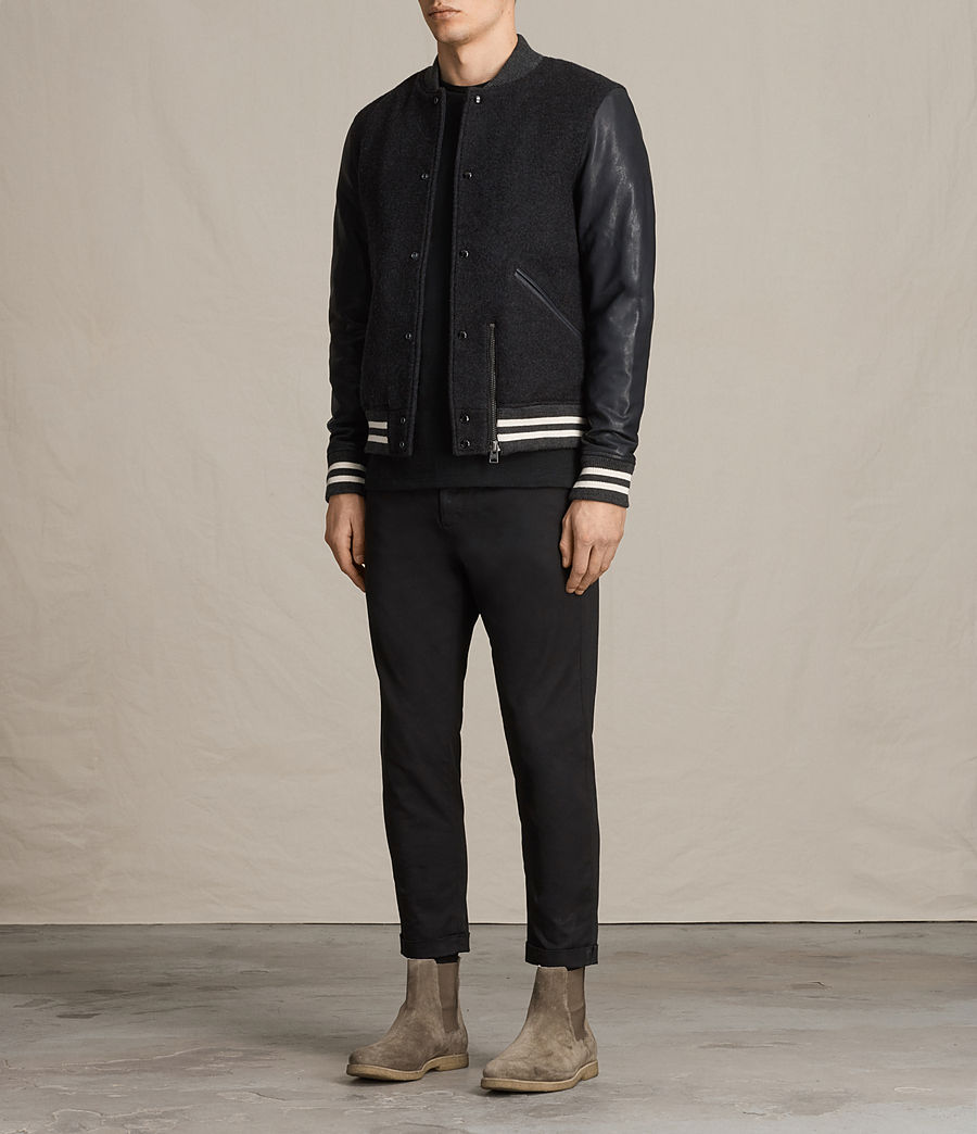 Men's Campbell Leather Bomber Jacket (charcoal_grey) - Image 3