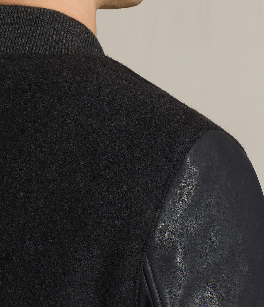 Men's Campbell Leather Bomber Jacket (charcoal_grey) - Image 5