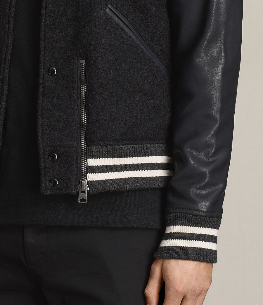 Uomo Bomber in pelle Campbell (charcoal_grey) - Image 6