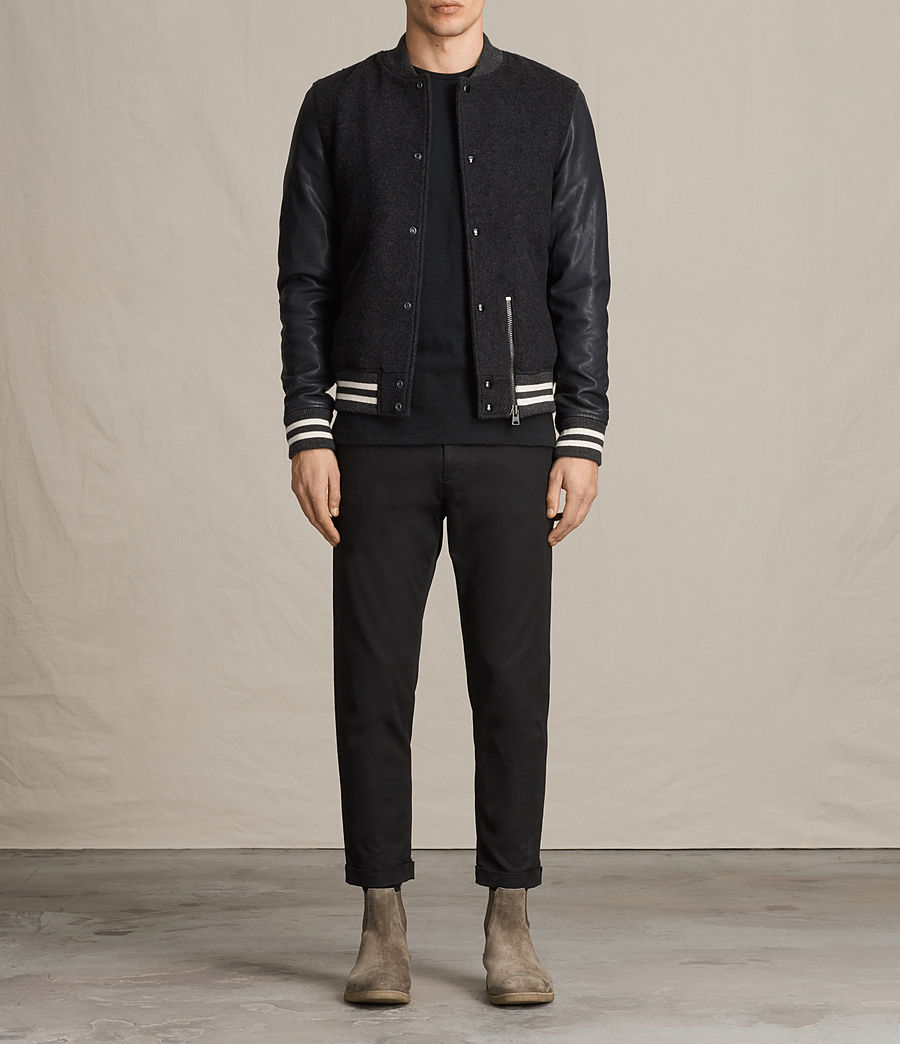 Uomo Bomber in pelle Campbell (charcoal_grey) - Image 7