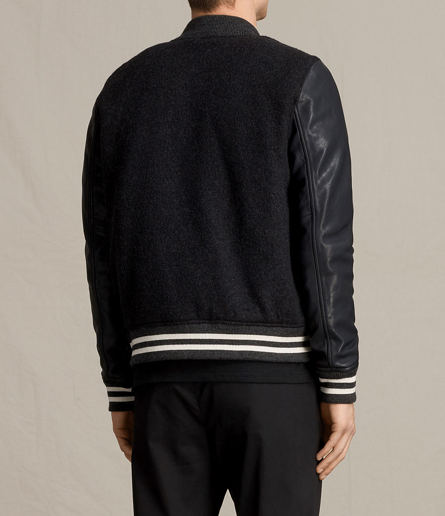 Uomo Bomber in pelle Campbell (charcoal_grey) - Image 8