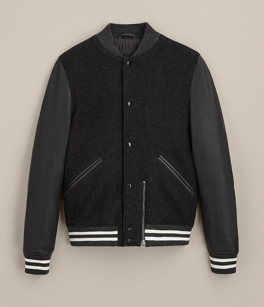 Uomo Bomber in pelle Campbell (charcoal_grey) - Image 9