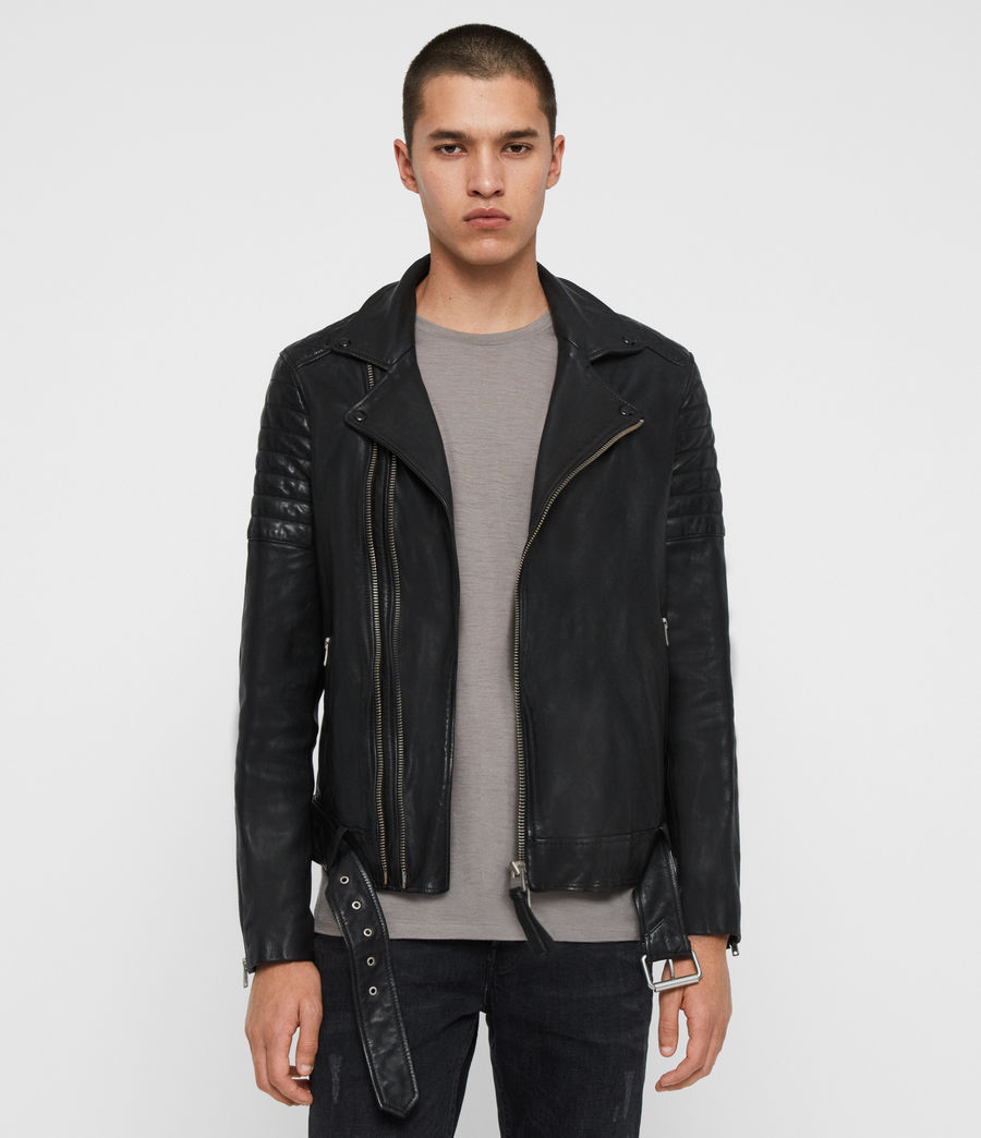 Men's Bolt Leather Biker Jacket (black) - Image 1