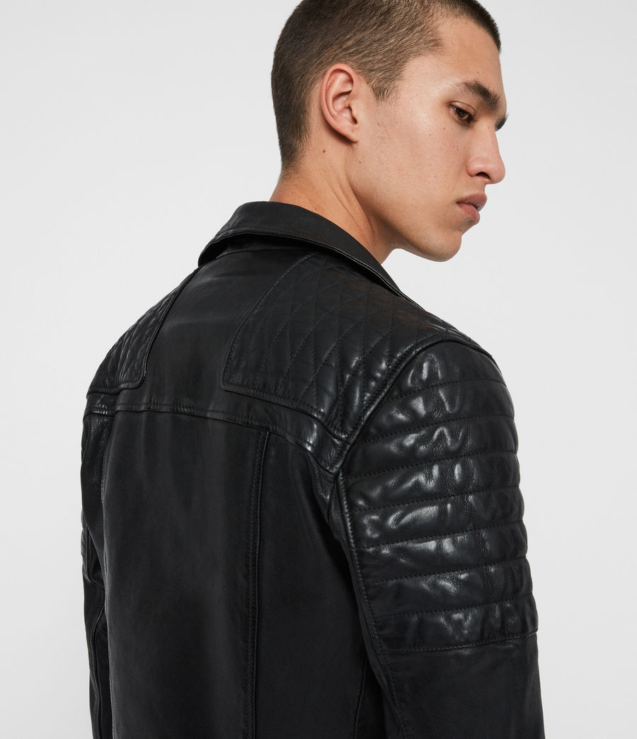 Men's Bolt Leather Biker Jacket (black) - Image 2