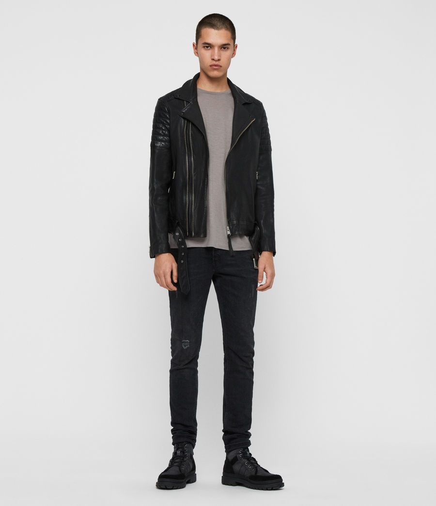 Men's Bolt Leather Biker Jacket (black) - Image 3