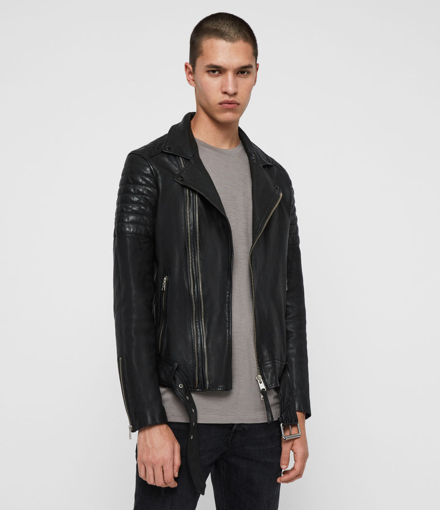 Mens Bolt Leather Biker Jacket (black) - Image 4