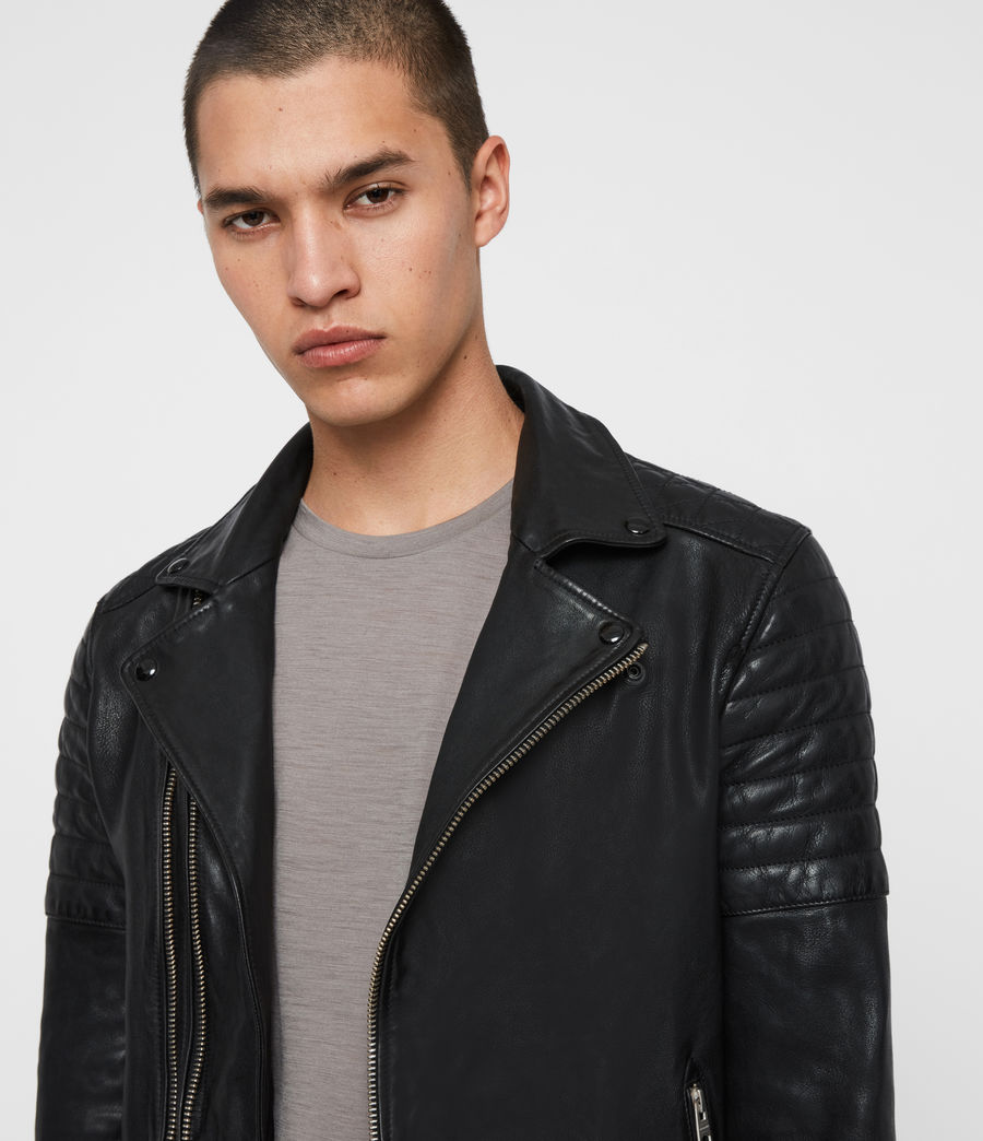 Men's Bolt Leather Biker Jacket (black) - Image 5