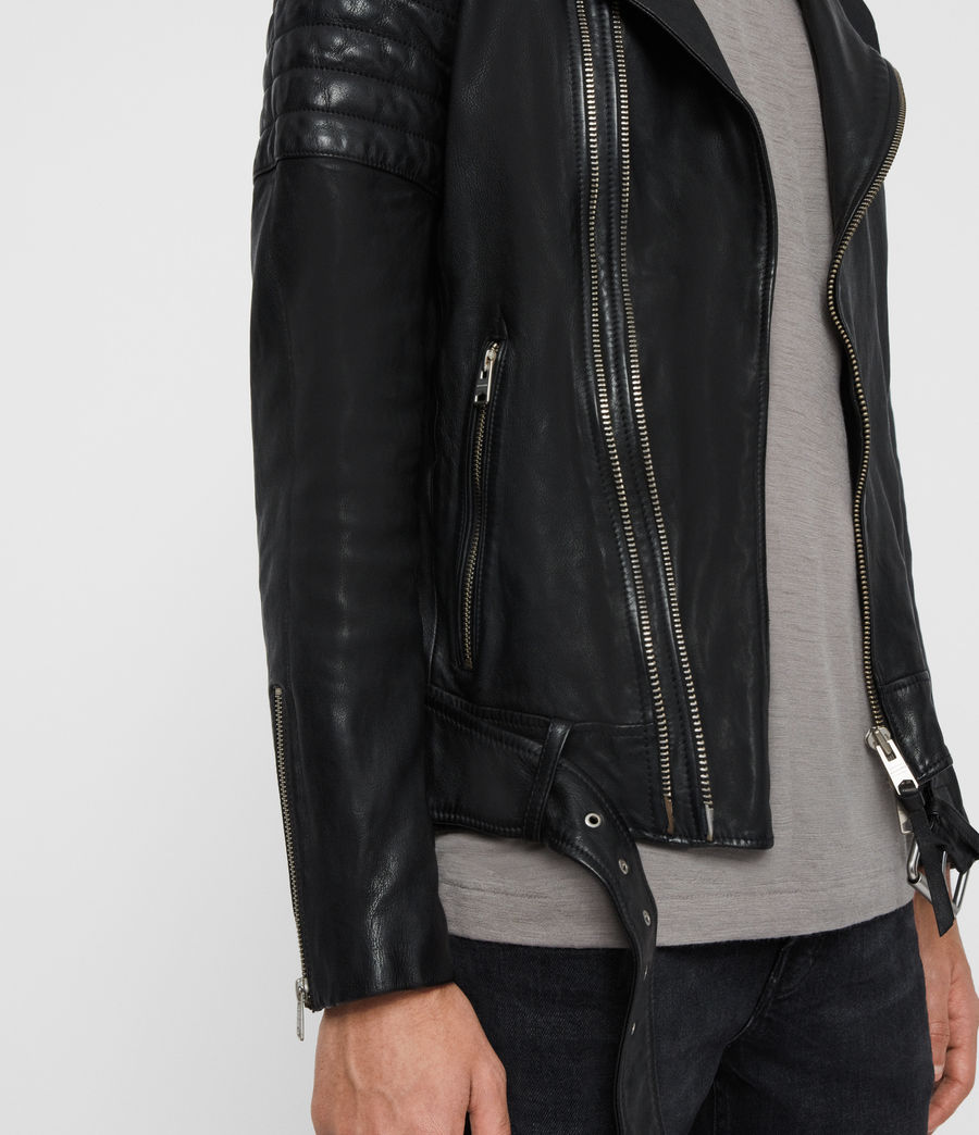Men's Bolt Leather Biker Jacket (black) - Image 6