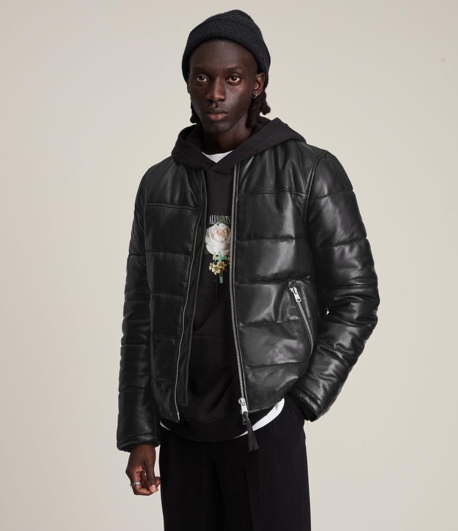 Men's Russel Leather Puffer Jacket (black) - Image 1