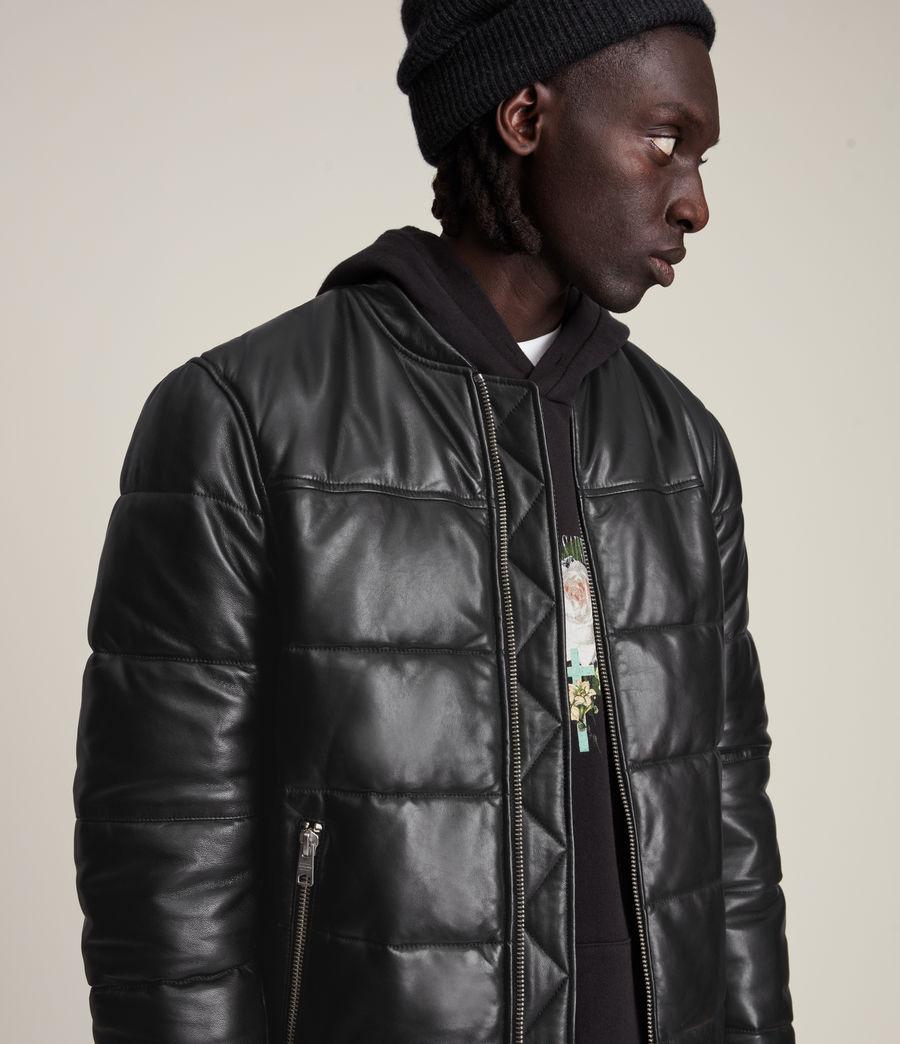 Men's Russel Leather Puffer Jacket (black) - Image 2