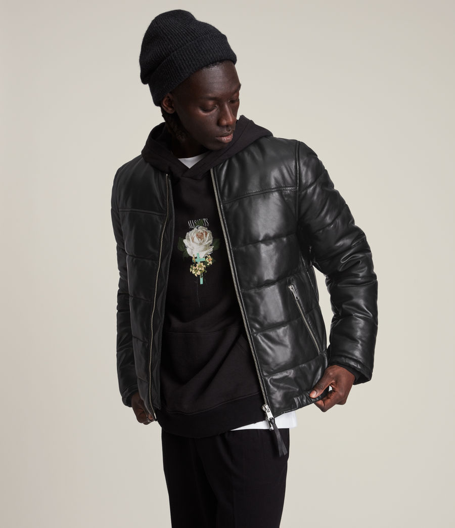 Men's Russel Leather Puffer Jacket (black) - Image 4