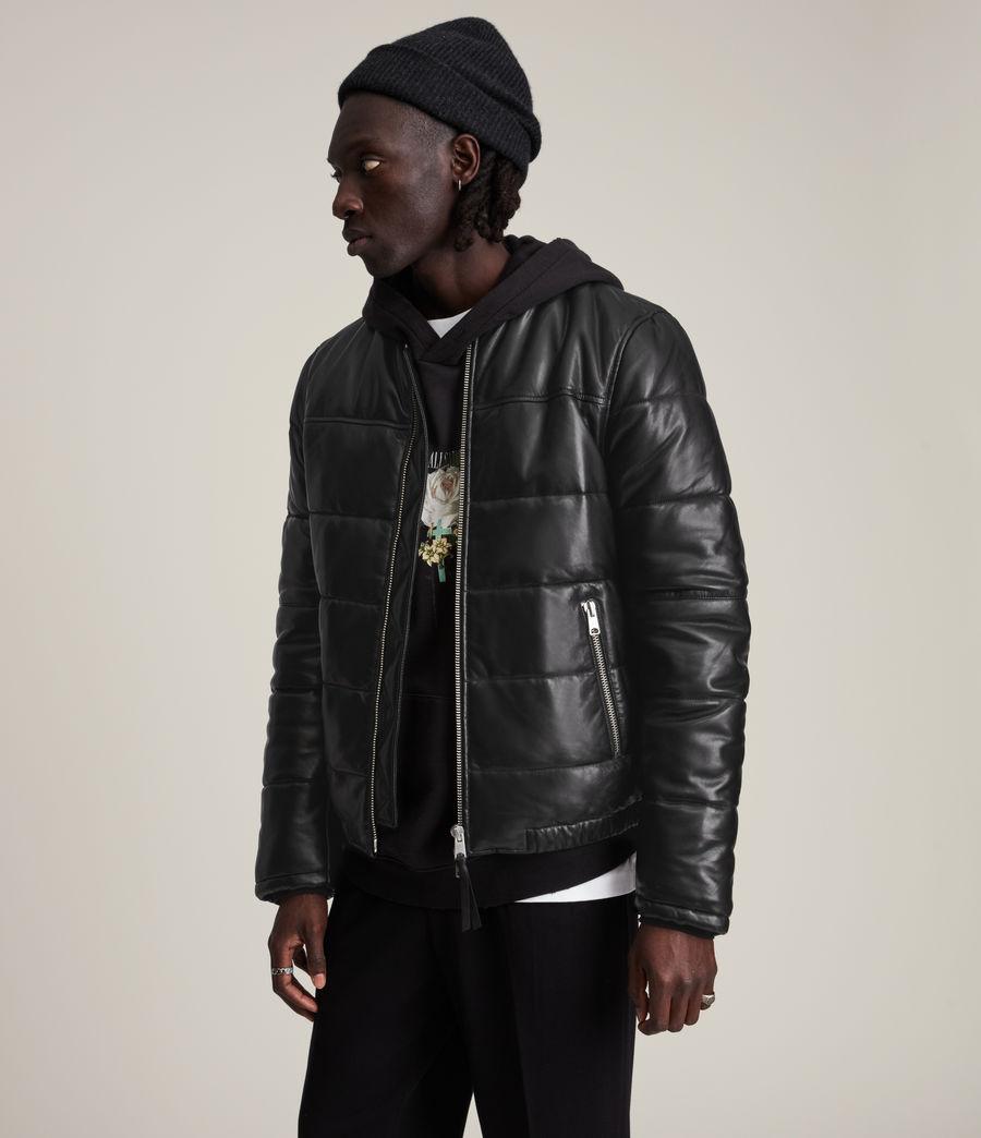 Men's Russel Leather Puffer Jacket (black) - Image 5