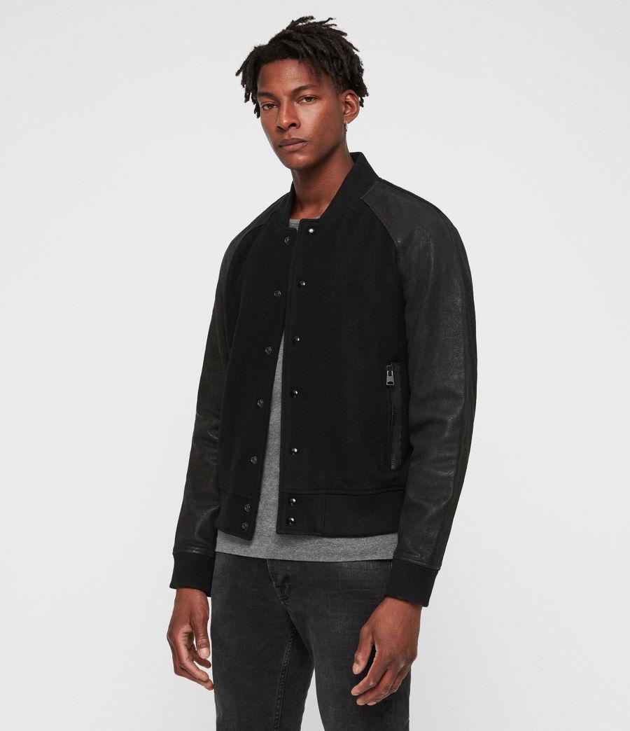 Men's Elton Leather Bomber Jacket (black_black) - Image 1
