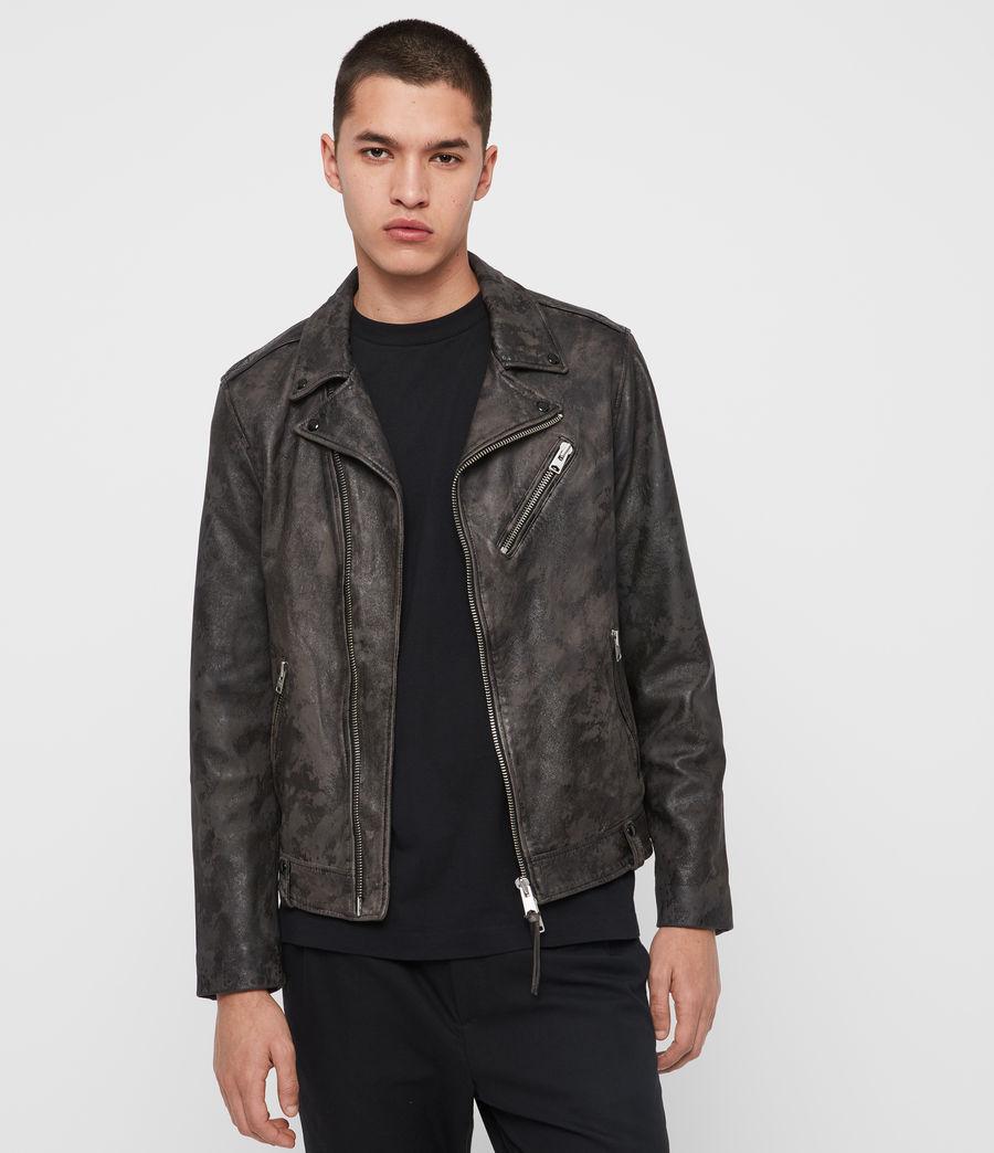 Mens Drury Leather Biker Jacket (black) - Image 1