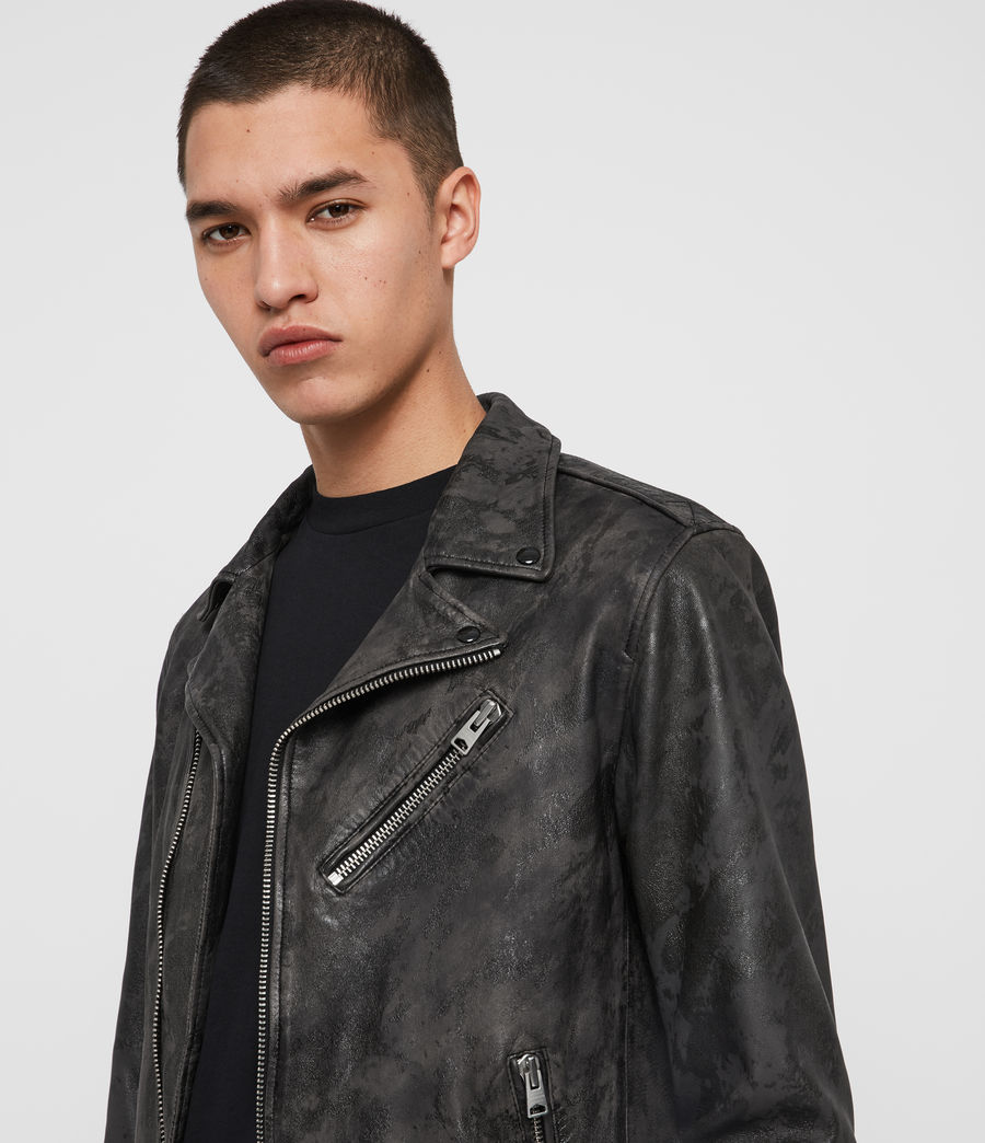 Mens Drury Leather Biker Jacket (black) - Image 2