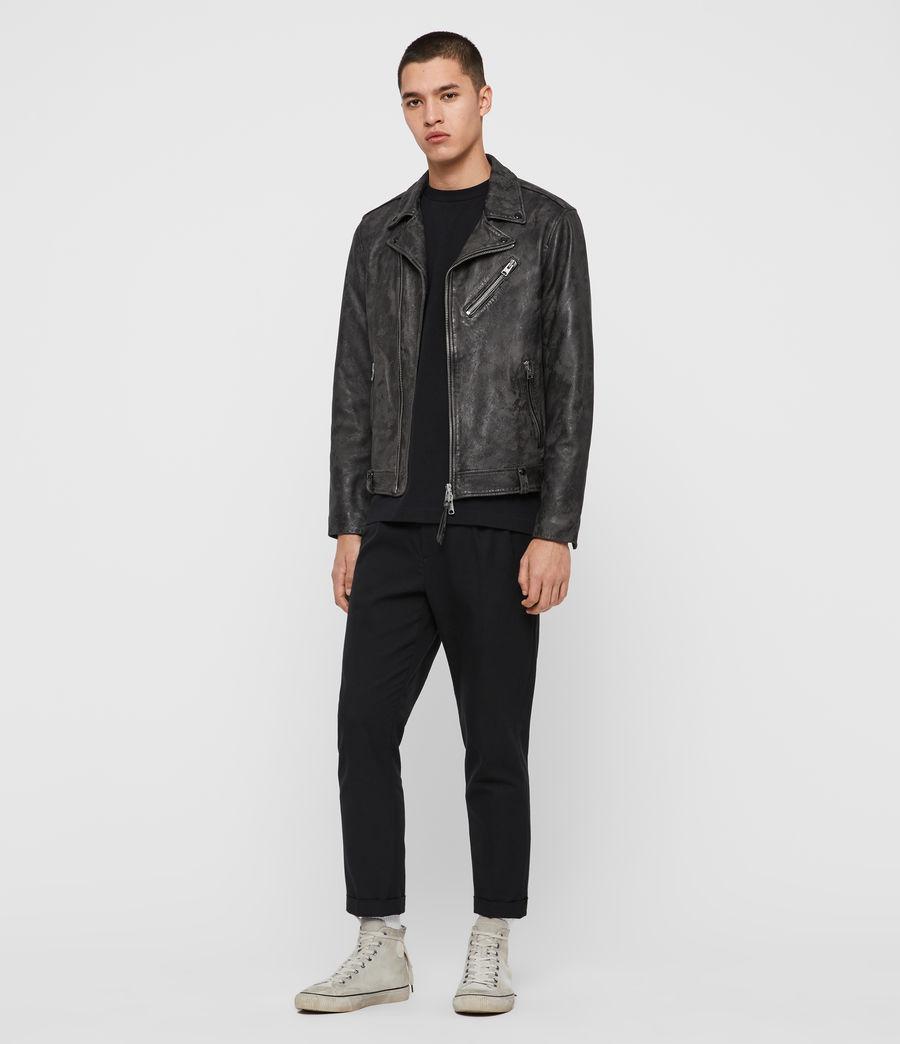 Mens Drury Leather Biker Jacket (black) - Image 3