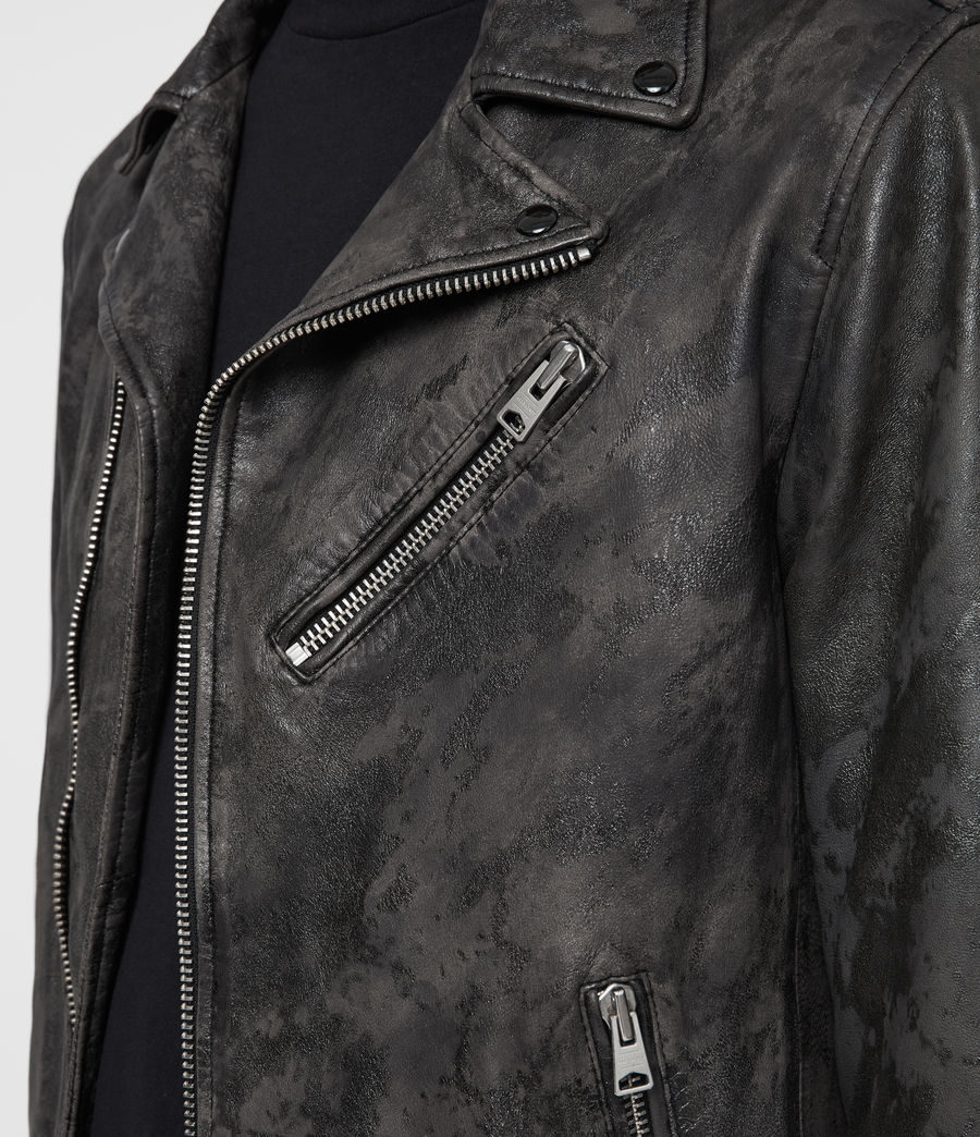 Mens Drury Leather Biker Jacket (black) - Image 4