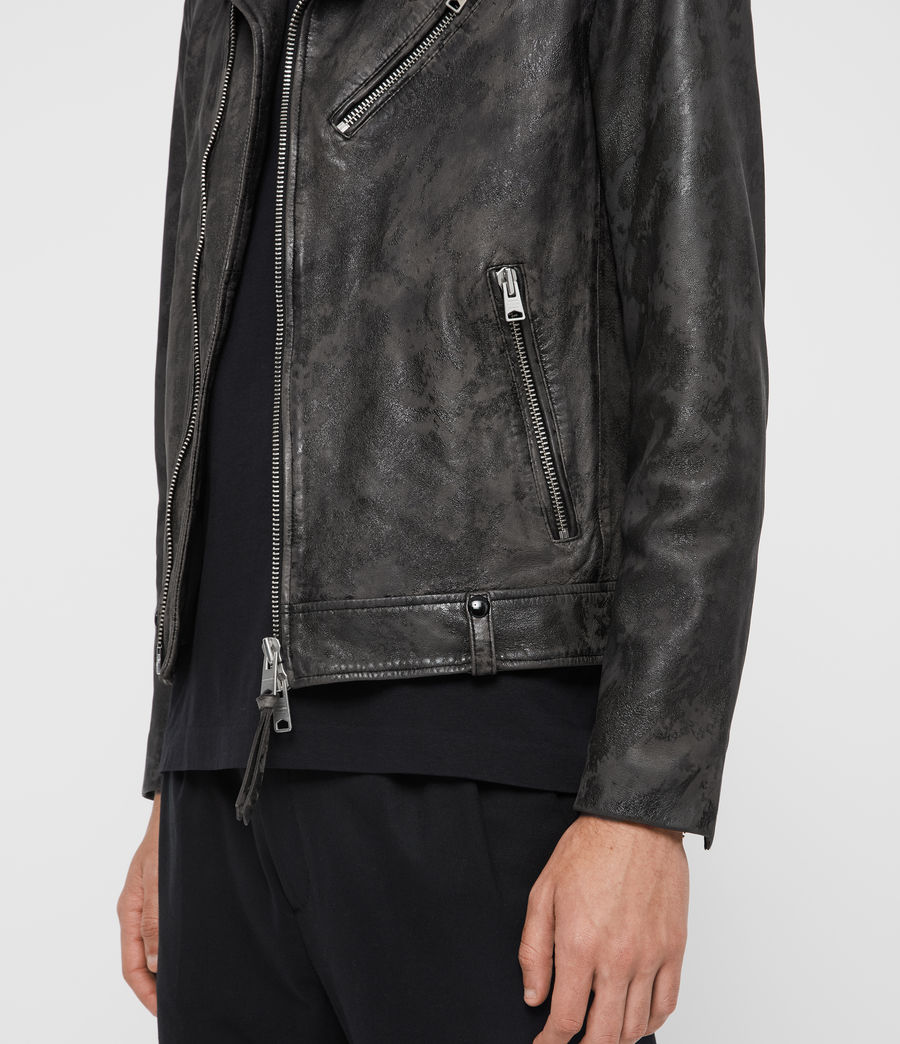 Men's Drury Leather Biker Jacket (black) - Image 4