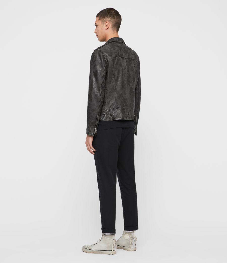 Mens Drury Leather Biker Jacket (black) - Image 7