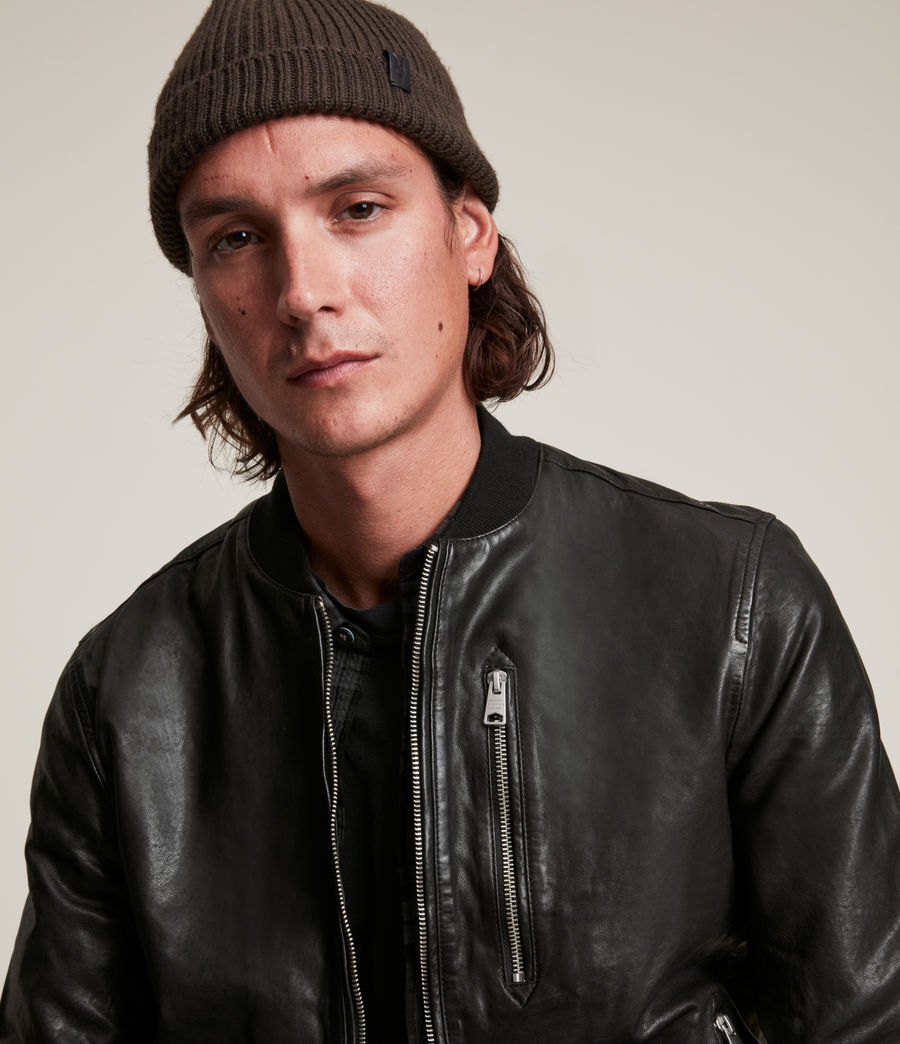 Men's Boyton Leather Bomber Jacket (black) - Image 2
