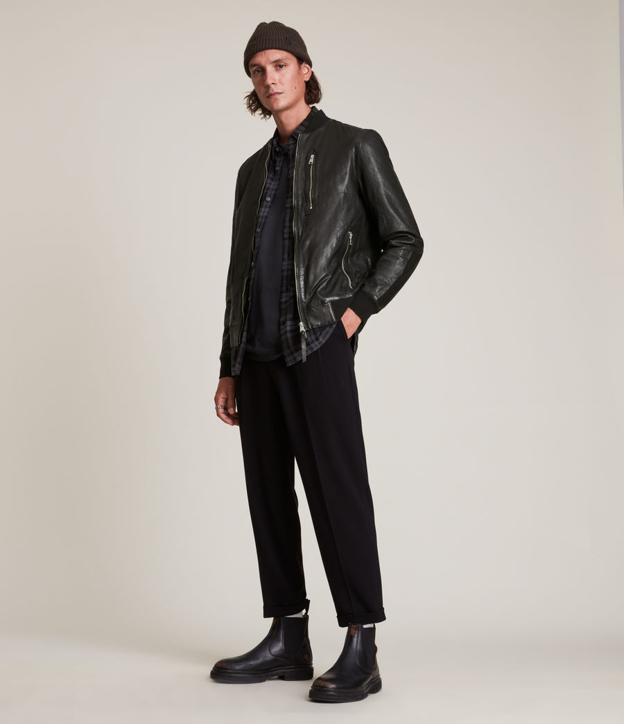 Men's Boyton Leather Bomber Jacket (black) - Image 3