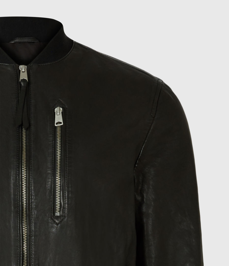 Men's Boyton Leather Bomber Jacket (black) - Image 5