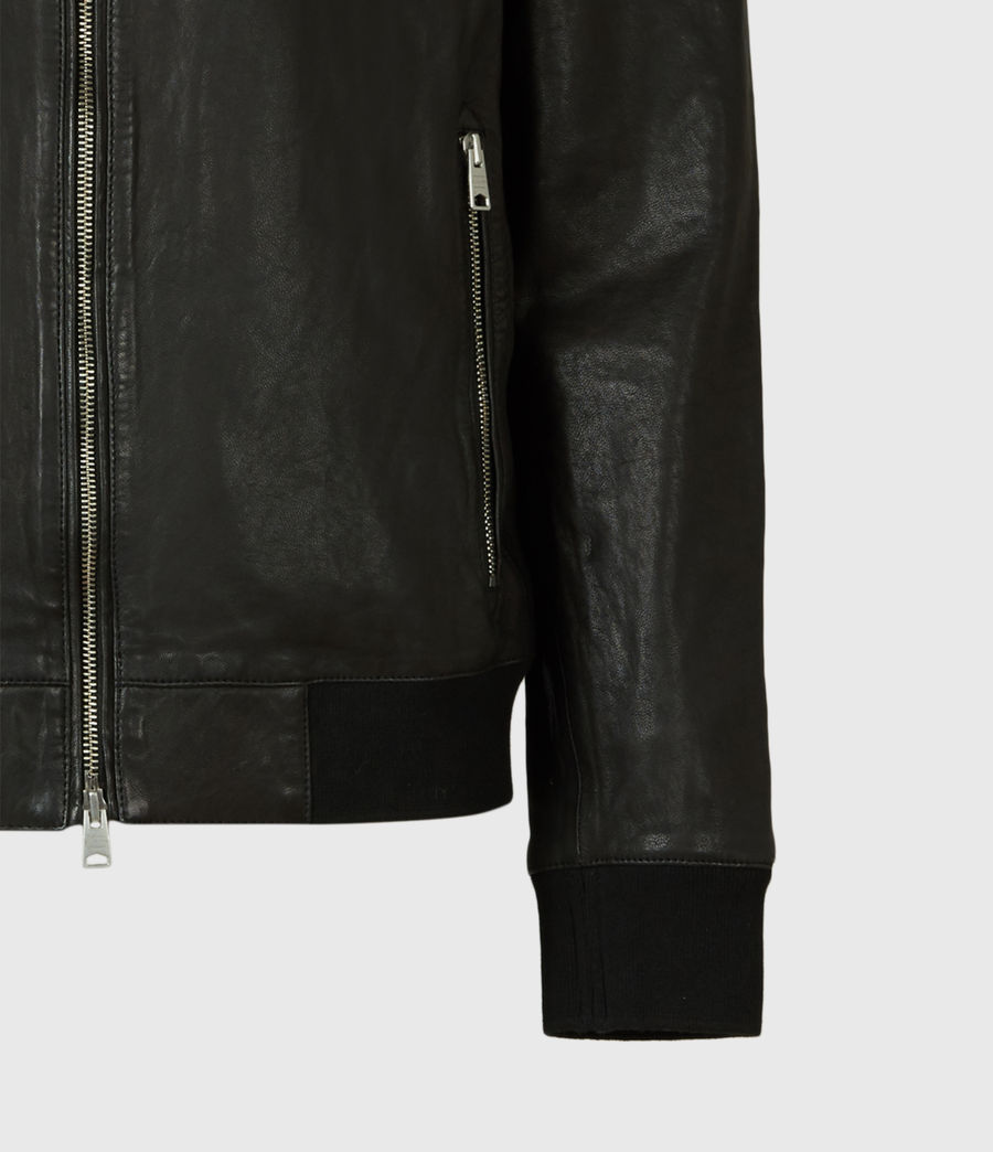 Men's Boyton Leather Bomber Jacket (black) - Image 6