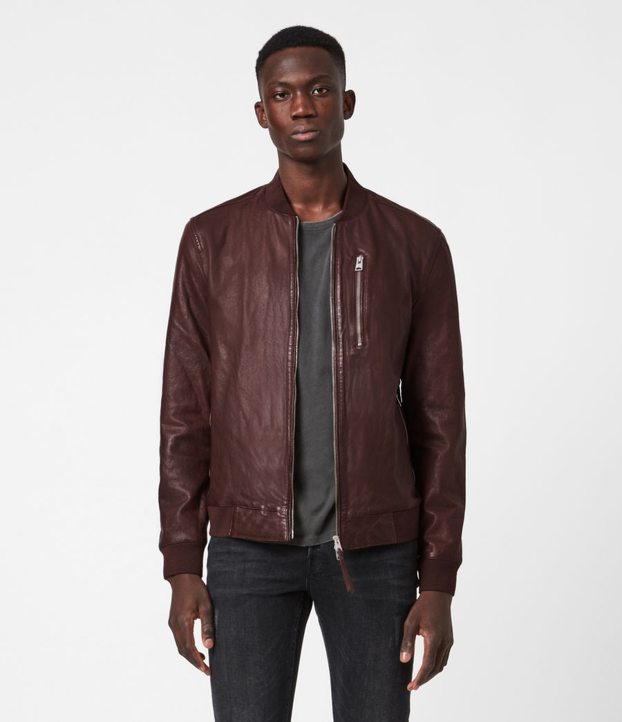Mens Boyton Leather Bomber Jacket (oxblood) - Image 1