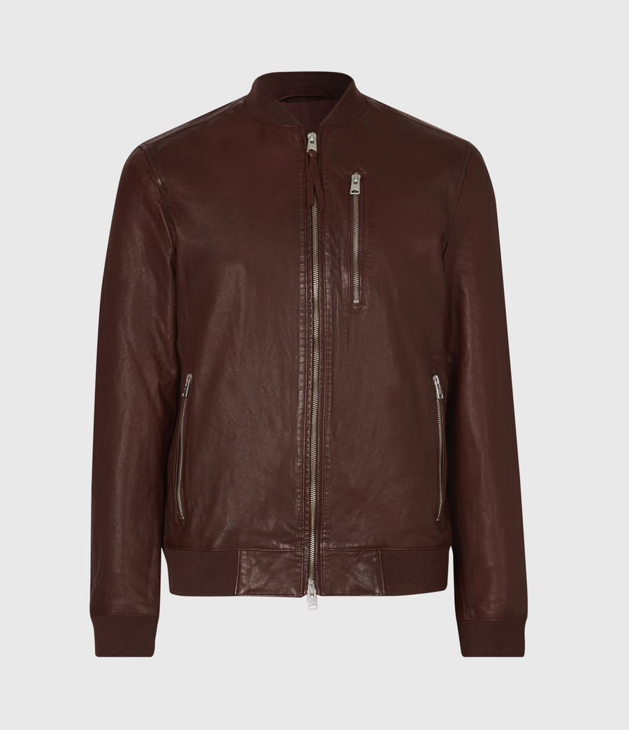 Mens Boyton Leather Bomber Jacket (oxblood) - Image 2