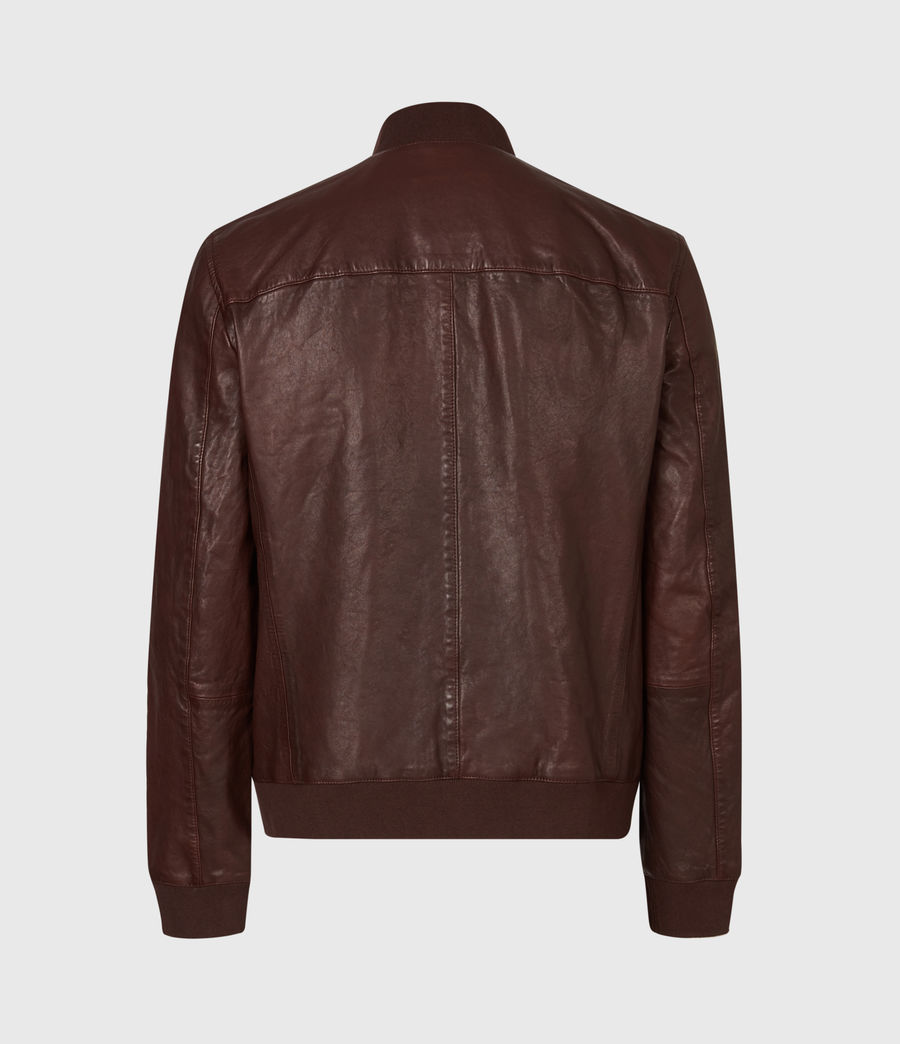 Mens Boyton Leather Bomber Jacket (oxblood) - Image 3