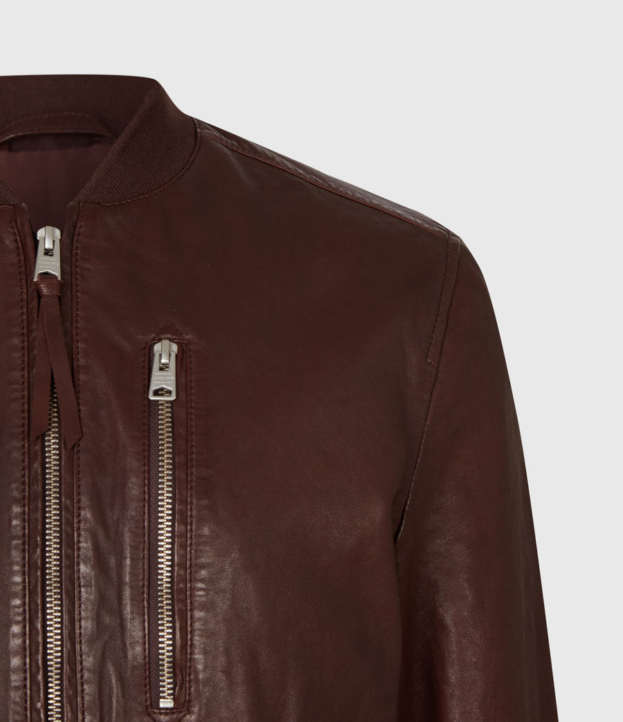 Mens Boyton Leather Bomber Jacket (oxblood) - Image 4