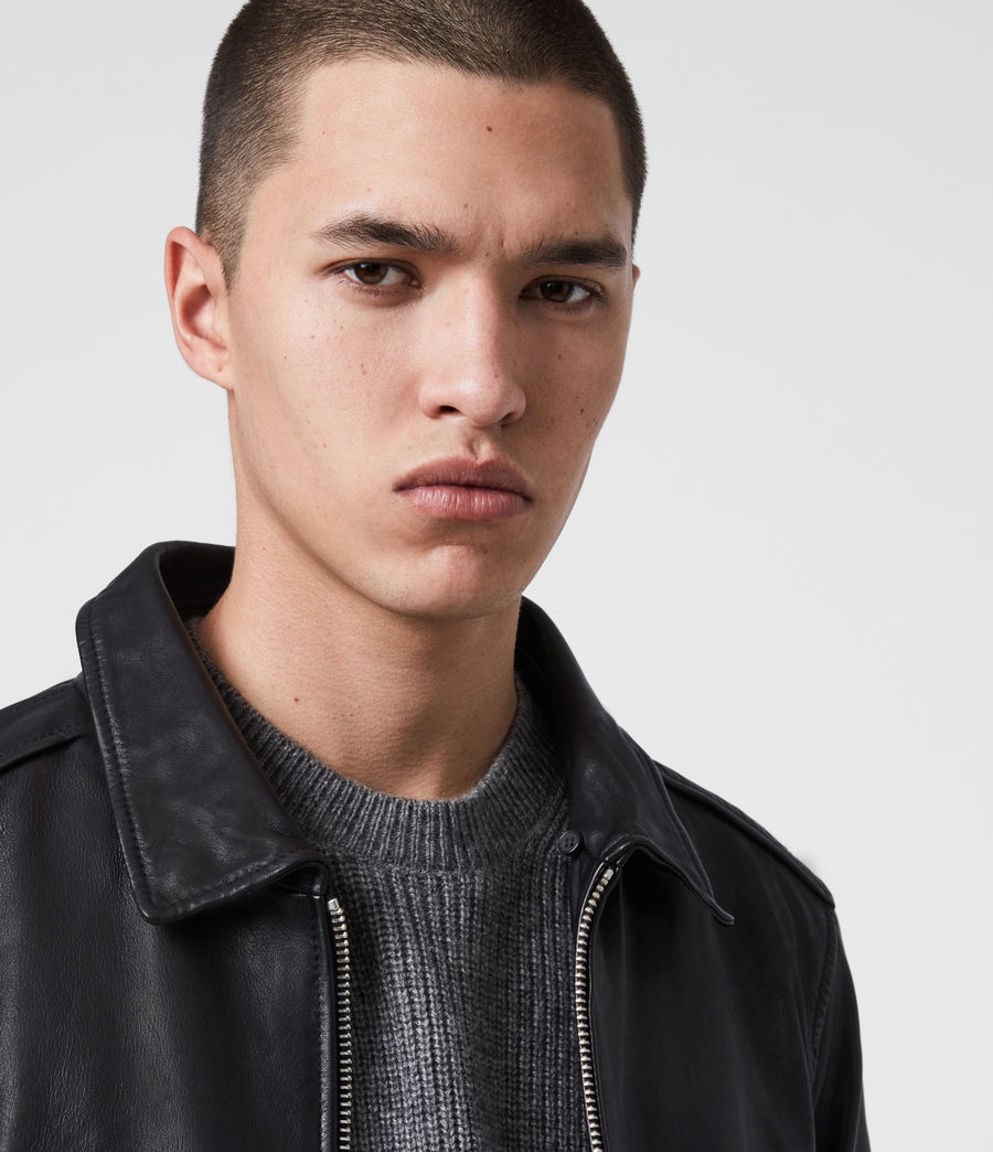 Men's Phoenix Leather Aviator Jacket (black) - Image 2